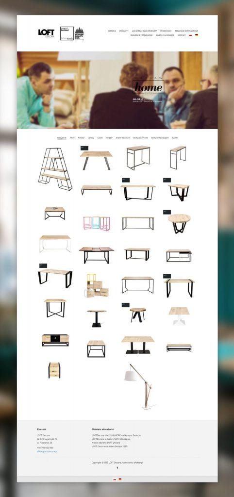 stworzenie strony internetowej loft decora