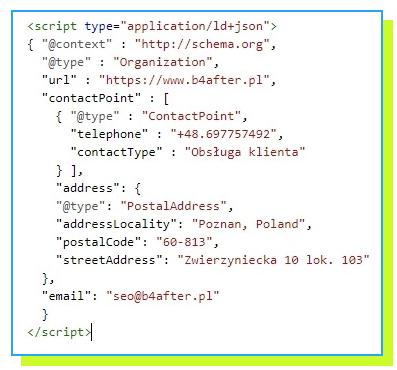 przykład kodu javascript JSON LD danych uporządkowanych